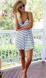 White-Black Striped Backless V-neck Sleeveless Loose Mini Dress