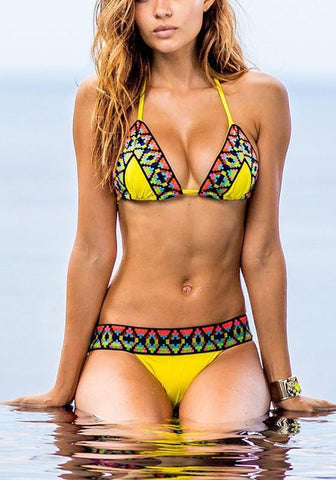 Yellow Floral 2-in-1 Crop Condole Belt Plunging Neckline Swimwear