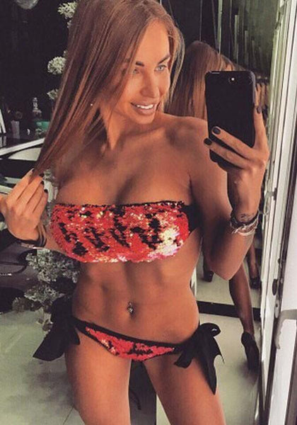 Red Patchwork Bandeau Sequin Lace-up Drawstring Waist Two Piece Swimwear