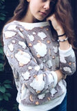 Khaki Floral Print Round Neck Long Sleeve Casual Pullover Sweatshirt