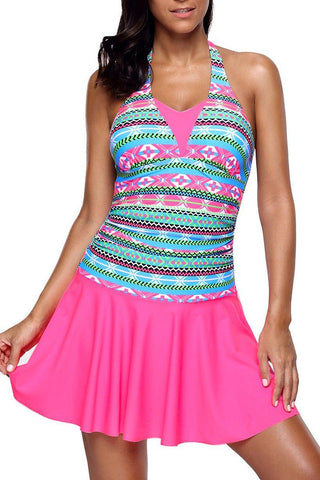 Cute Aztec Print Rosy Halterneck One Piece Swimdress