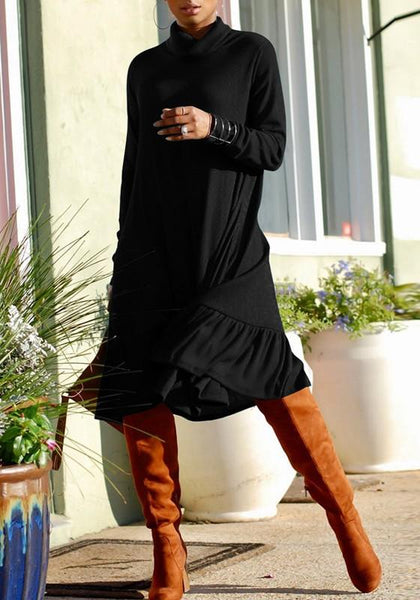 Black Ruffle Pleated High Neck Long Sleeve Elegant Midi Dress