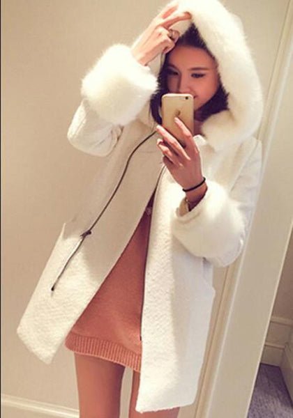 White Patchwork Pockets Fur Collar Long Sleeve Wool Coat