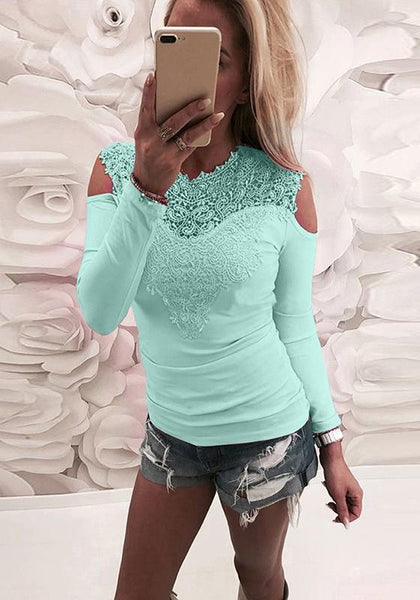 Light Green Patchwork Cut Out Lace Round Neck Fashion T-Shirt
