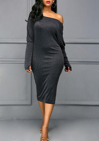 Dark Grey Cut Out Dolman Sleeve Off Shoulder Plus Size Bodycon Midi Dress