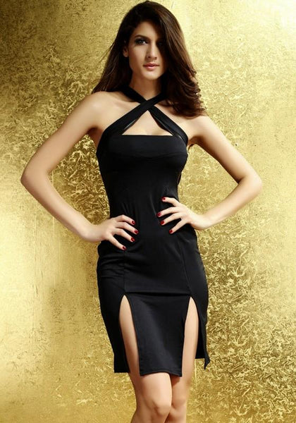 Black Plain Cross Back Cut Out Side Slit Mini Dress
