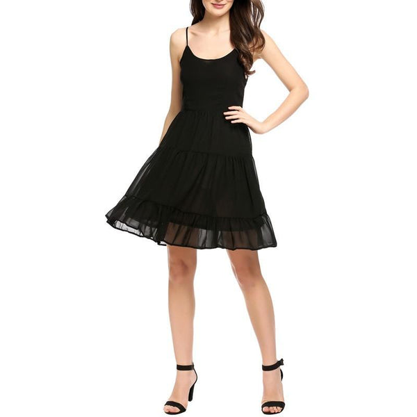 Black Patchwork Spaghetti Strap Grenadine Side Pull Scoop Neck Mini Dress