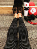New Black Striped Skinny High Waisted Sports Legging