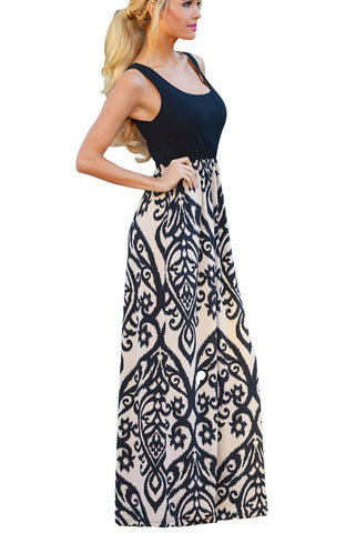 Fashion Black Damask Print Pattern Sleeveless Long Boho Dress