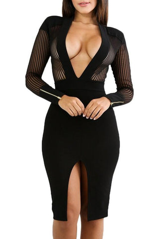 Black Sheer Pinstripe Mesh Accent Deep V Neck Club Bodycon Dress