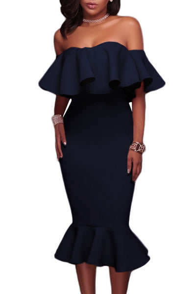 Fashion Navy Blue Ruffle Off The Shoulder Trumpet Midi Party Dress