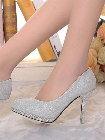 New Silver Round Toe Stiletto Fashion High-Heeled Shoes