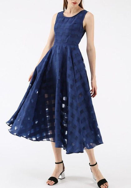 Navy Blue Draped Round Neck Banquet Elegant Party Chiffon Midi Dress