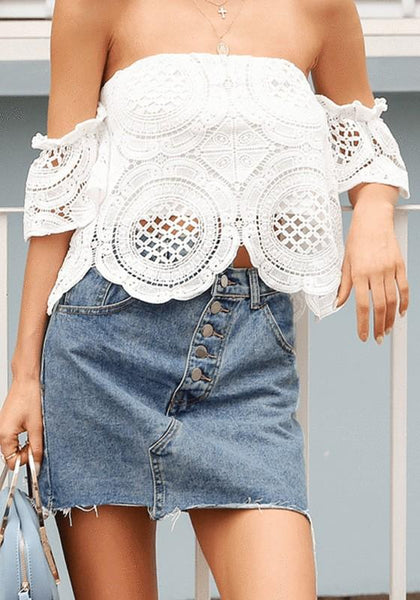 White Patchwork Lace Cut Out Irregular Boat Neck Blouse
