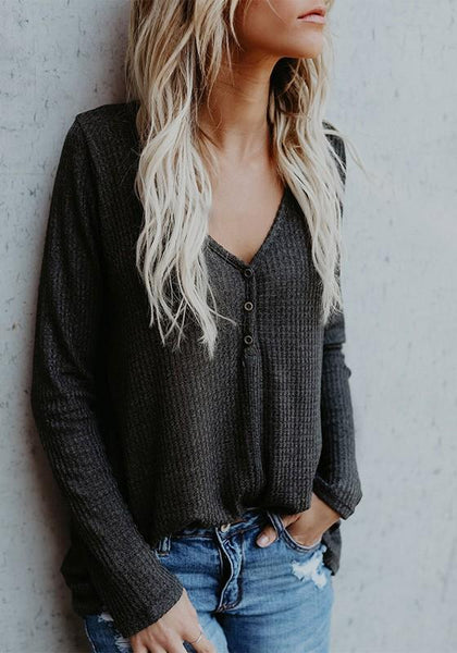 Dark Grey V-neck Buttons Long Sleeve Casual Pullover Sweater
