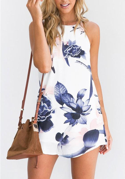 White-Blue Flowers Print Sleeveless Spaghetti Strap Homecoming Party Mini Dress