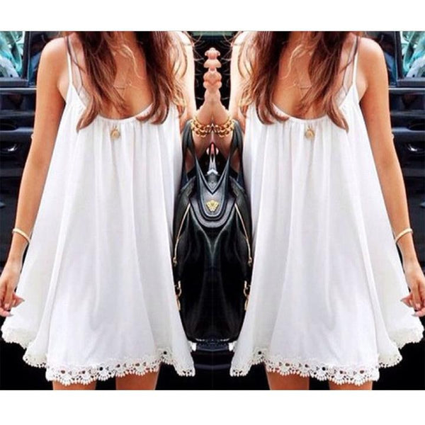 Strap Chiffon Lace Trim Loose Mini Sundress