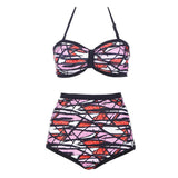 Halter Contrast Color Push-up High Waist Bikini Set Swimsuit