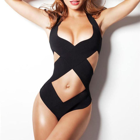 V-Neck Halter Hollow Cross Bandage One Piece Beach Swimwear
