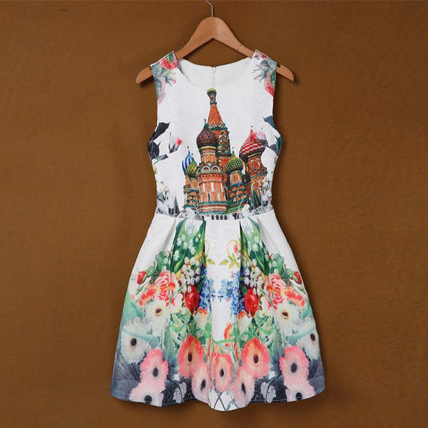 Sleeveless Print Slim Party Mini A-line Sundress Dress