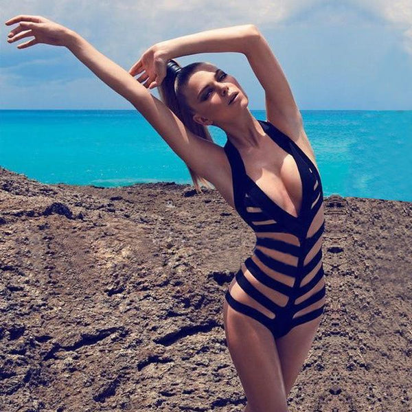 Halter Backless V-neck Hollow Out Monokini Swimwear