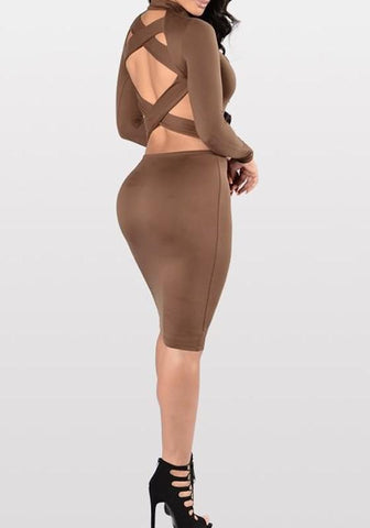 Khaki Cross Back Cut Out Cowl Neck Midi Dress