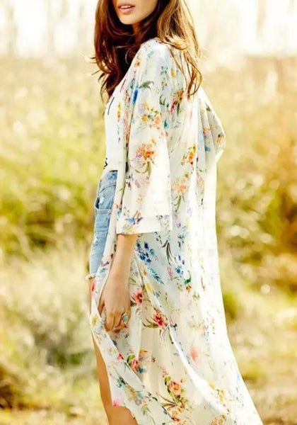 Apricot Floral Print Irregular Three Quarter Length Sleeve Chiffon Coat