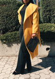 Yellow Sashes Pockets Turndown Collar Long Sleeve Elegant Cardigan Wool Coat