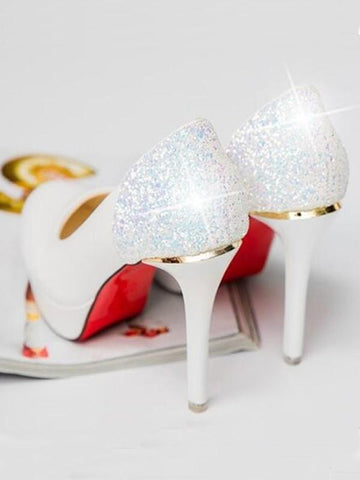 New White Round Toe Stiletto Sequin Fashion High-Heeled Shoes