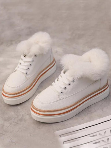 White Round Toe Fashion Ankle Shoes