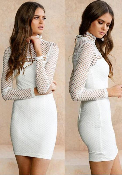 White Patchwork Cut Out Zipper Band Collar Bodycon Homecoming Party Mini Dress
