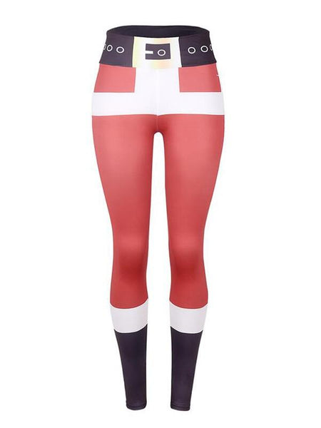 New Red-Black Patchwork High Waisted Yoga Christmas Sports Santa Workout Legging