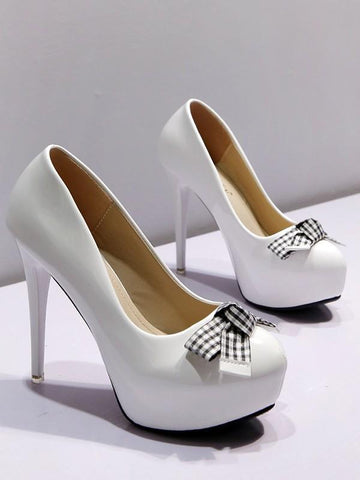 d2b25cfde4d New White Round Toe Stiletto Bow Fashion High-Heeled Shoes