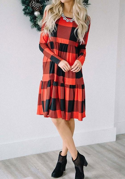 Red-Black Plaid Pattern High Waisted Long Sleeve Casual Midi Dress