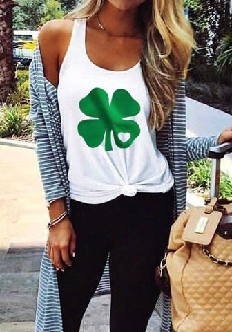 White Four Leaf Clover Print Heart Shamrock St. Patrick's Day Casual Vest