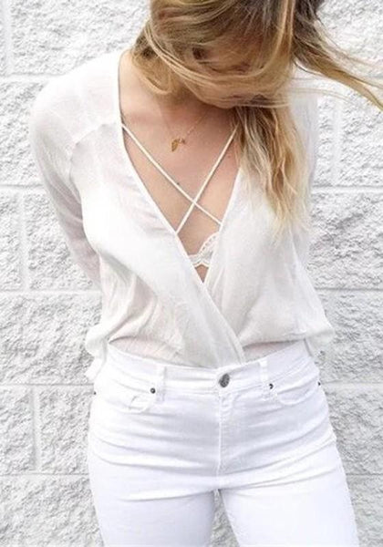 White Plain Irregular Draped Lace-up Cross Front Oversized Casual Blouse