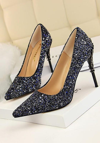 New Blue Point Toe Stiletto Sequin Fashion High-Heeled Shoes