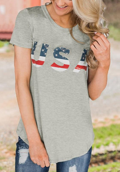 "Grey ""USA"" American Flag Print Independence Day Casual T-Shirt"