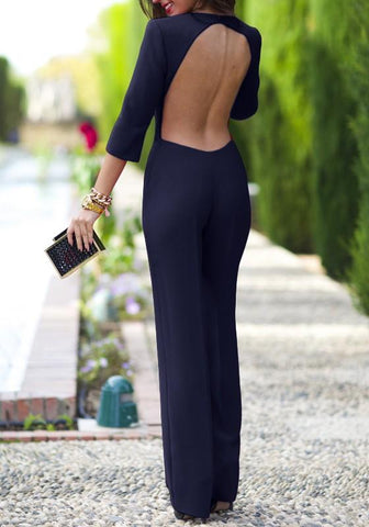 Dark Blue Plain Cut Out Mid-rise Elegant Cotton Long Jumpsuit