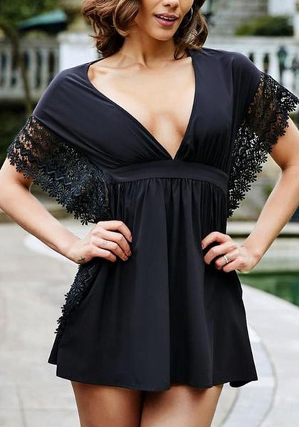 Black Patchwork Hollow-out Lace Plunging Neckline Mini Dress