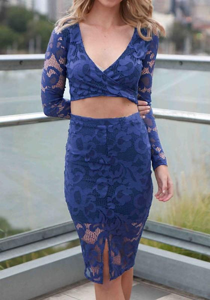 Blue Patchwork Lace Cut Out 2-in-1 Zipper Midi Dress