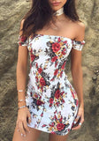 White Flowers Off Shoulder Open Back Clubwear Mini Dress