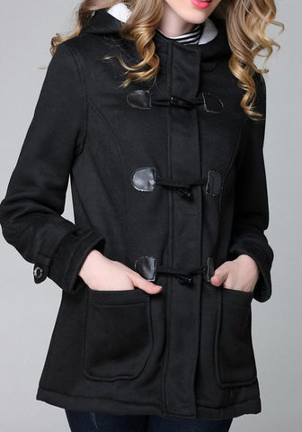 Black Buttons Long Sleeve Single Breasted Fashion Outerwear