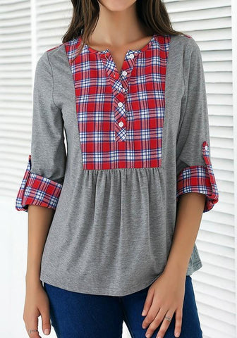 Grey Patchwork Pattern Round Neck Casual Knit T-Shirt