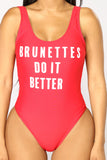 Brunettes Do It Better Swimsuit - Red/White
