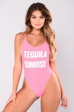 Pink Sexy Round Neck Sleeveless Women Fashion Swimsuit