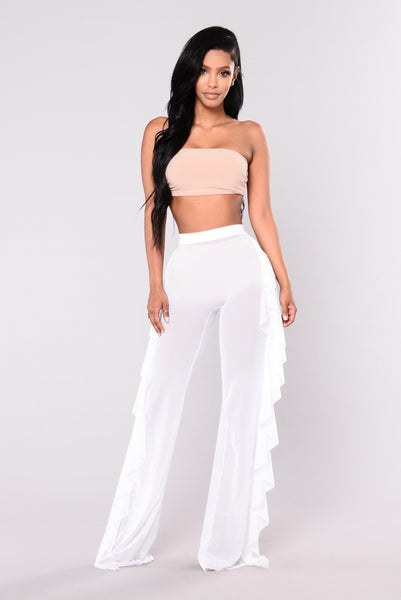 Sunshine See Through Cover Up Pant - White