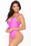 Plunge Me One Piece Swimsuit - Magenta