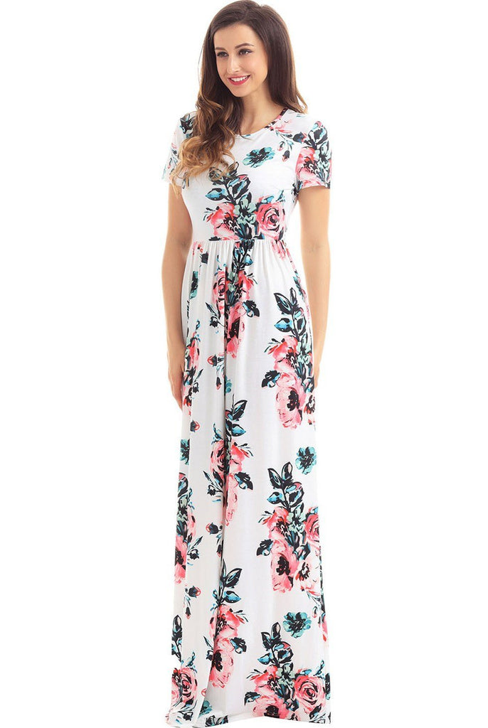 638db89bd0d Onlinechoic Pockets Short Sleeve White Floral Maxi Dress ...