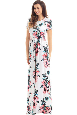 Onlinechoic Pockets Short Sleeve White Floral Maxi Dress
